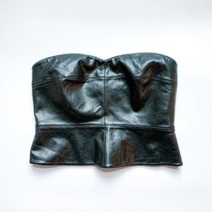 Bailey 44 Cropped Vegan Leather Bustier Top